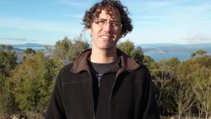 Culum at Mt Nelson, Hobart, giving an interview.