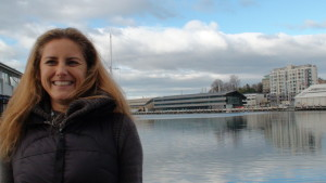 Larelle at Hobart waterfront, giving an interview.